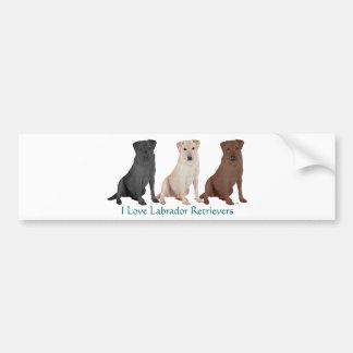 Labradors - 3 Kleuren aan Liefde Bumpersticker