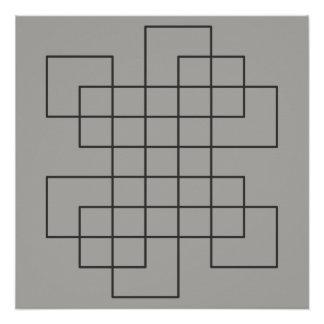 Labyrint op Grijs Poster