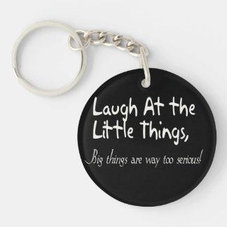 Lach bij de Kleine Dingen, Motivatie Spreuk 1-Zijde Rond Acryl Sleutelhanger