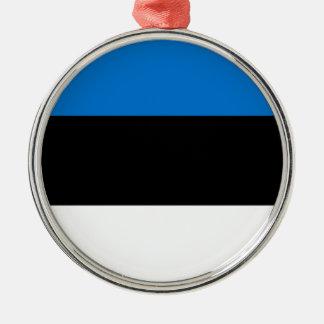 Lage Kosten! De Vlag van Estland Zilverkleurig Rond Ornament