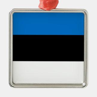 Lage Kosten! De Vlag van Estland Zilverkleurig Vierkant Ornament