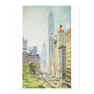 Lagere Broadway in circa In oorlogstijd 1917 Briefkaart