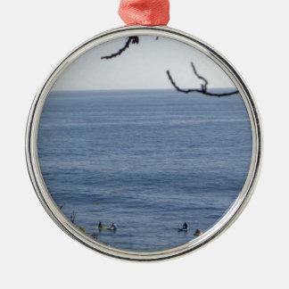 laguna strandbranding zilverkleurig rond ornament