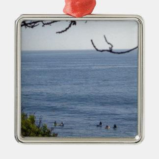 laguna strandbranding zilverkleurig vierkant ornament