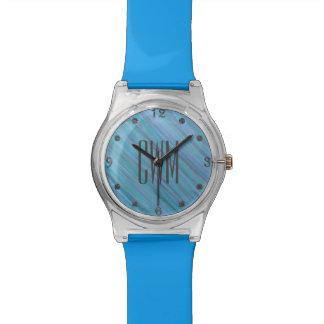 Laidback Bling | Monogram Turkooise Blauwe Aqua | Polshorloge