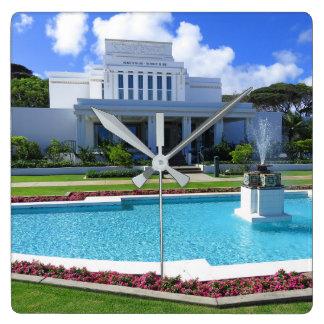 Laie, de Mormoonse Tempel van Hawaï Vierkante Klok