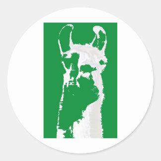 lama hoofd in smaragdgroen ronde sticker