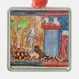 Lancelot bewijst zijn liefde zilverkleurig vierkant ornament