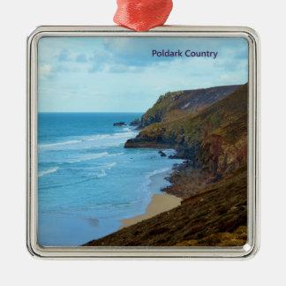Land het Van Cornwall Cornwall het UK van Poldark Zilverkleurig Vierkant Ornament