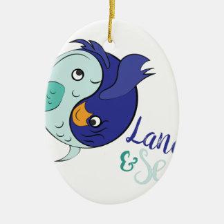 Land & Zee Keramisch Ovaal Ornament