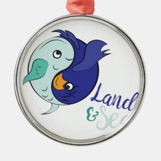 Land & Zee Zilverkleurig Rond Ornament