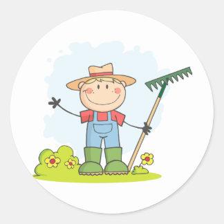 Landbouw Tuinierende Jongen Ronde Sticker