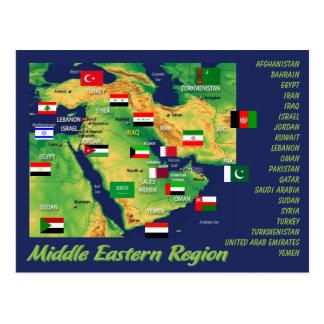 Landen de geografische kaart van het Middenoosten Briefkaart