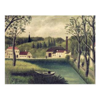 Landschap met een Visser, na 1886 Briefkaart