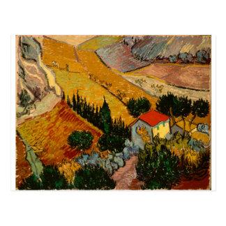 Landschap met Huis & Ploughman, Vincent van Gogh Briefkaart