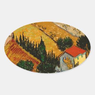 Landschap met Huis & Ploughman, Vincent van Gogh Ovale Sticker