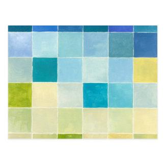 Landschap met Multicolored Vierkanten Pixilated Briefkaart