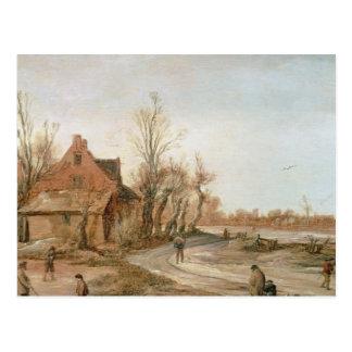 Landschap van de winter, 1623 briefkaart