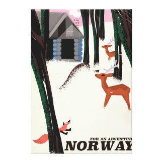 Landschap van het de reisposter van Noorwegen het Canvas Print