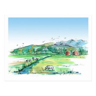 Landschap van het Land van de Schuur van het Dier Briefkaart