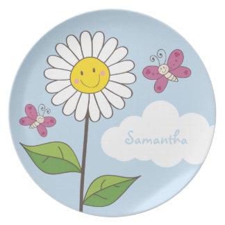 Lange Glimlachende Daisy & Vlinders met Naam Melamine+bord