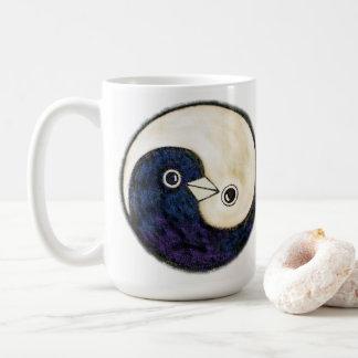 Lange koffiemok met de duiven van Yin Yang van
