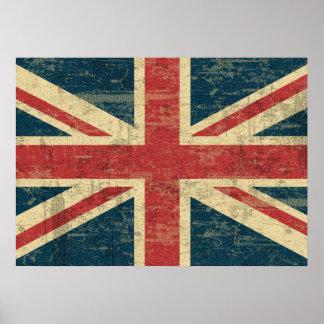 Langzaam verdwenen Union Jack Poster