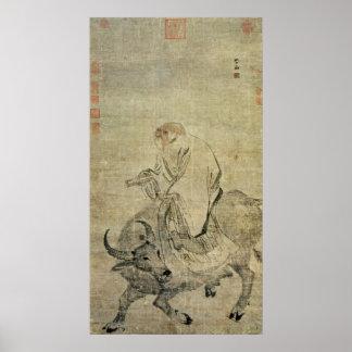 Lao-Tzu die zijn os, Chinees, Dynastie berijdt Min Poster