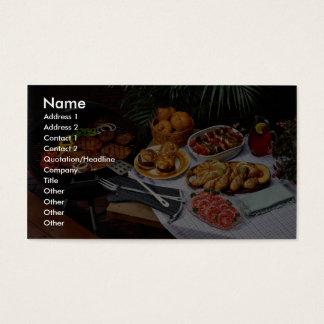 Lapjes vlees, burgers, kip visitekaartjes