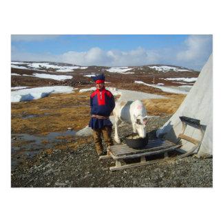 Lapland, regeling Sámi met tent en koe Briefkaart