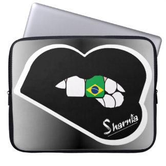Laptop van Brazilië van de Lippen van Sharnia Laptop Sleeve