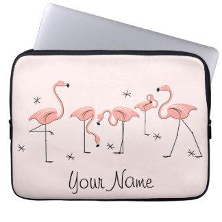 Laptop van de Naam van de Lijn van flamingo's Roze Laptop Sleeve