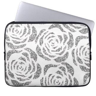 Laptop van de Rozen van Sparkly het Zilveren Witte Computer Sleeve