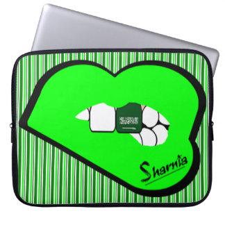 Laptop van Saudi-Arabië van de Lippen van Sharnia Laptop Sleeve