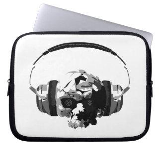 laptop van schedelhoofdtelefoons sleeve