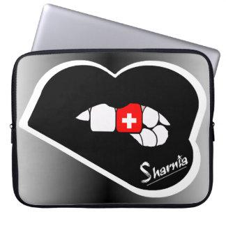 Laptop van Zwitserland van de Lippen van Sharnia Computer Sleeve