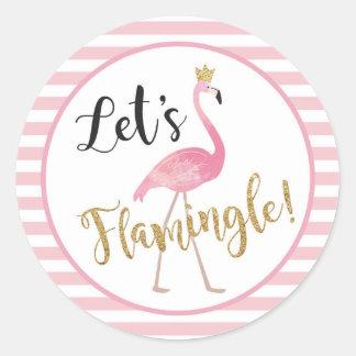 Laten we Flamingle! De Sticker van de flamingo