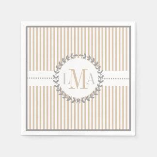 Latte, wit gestreept patroonhuwelijk papieren servetten