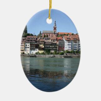 Laufenburg, Zwitserland, uitzicht naar Duitsland Keramisch Ovaal Ornament