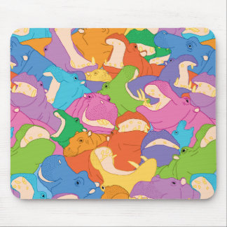 Laughing Hippos - bright colours Muismatten