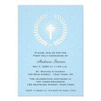 Laurier, Kruis, Blauw, Eerste Heilige Communie 12,7x17,8 Uitnodiging Kaart