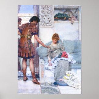 Lawrence Alma-Tadema - een stille groet Poster
