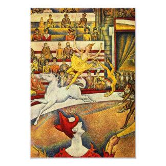 Le Cirque (het Circus) door Georges Seurat 8,9x12,7 Uitnodiging Kaart