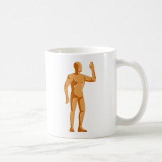 ledenpop menselijke anatomie die zich retro koffiemok
