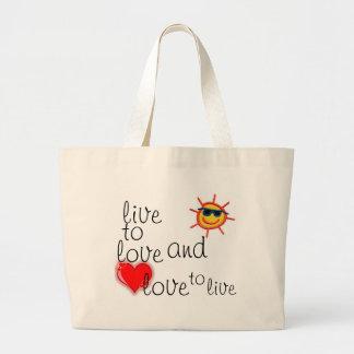 leef aan liefde canvas tassen