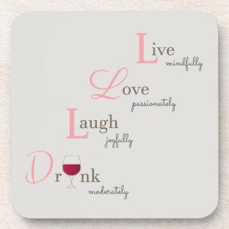 Leef de Lach van de Liefde en drink wijn Drankjes Onderzetters