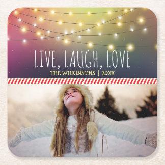 Leef, Lach, Foto | van Kerstmis van de Liefde heel Vierkante Onderzetter