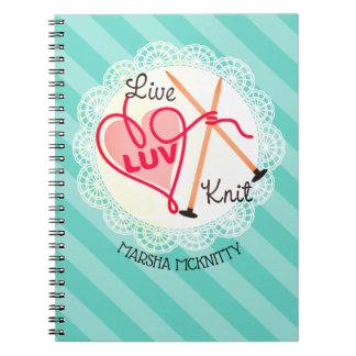 leef liefde breien het notitieboekje van het ringband notitieboek