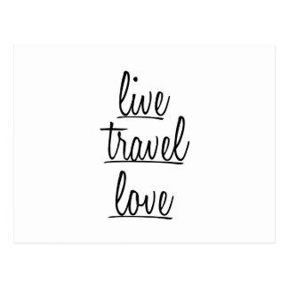 """""""Leef, reis, houd"""" van Typografie in Zwarte Briefkaart"""