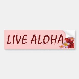 Leef roze Hawaiiaanse bloemenbumpersticker Aloha Bumpersticker